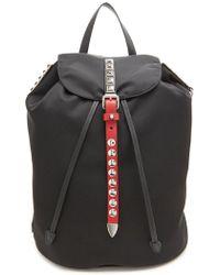ae9ca86fb122 Prada Vela Nylon Crossbody Backpack in Black - Lyst