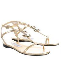 Jimmy Choo Alodie Flat Sandals - Metallic