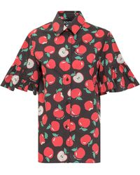 Boutique Moschino Apple Print Ruffled Sleeve Shirt - Red