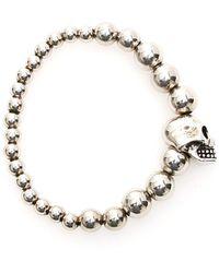 Alexander McQueen Skull Pearl Bracelet - Metallic