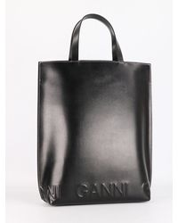 Ganni Medium Tote In Recycled Leather - Black