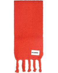Jil Sander Logo Patch Fringed Scarf - Red