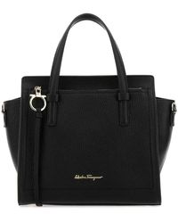 Ferragamo Logo Charm Tote Bag - Black