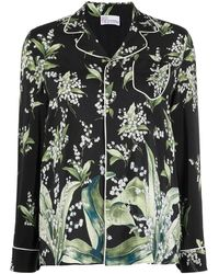 RED Valentino May Lily-print Pyjama Shirt - Black