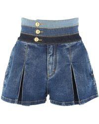 DSquared² Pleated Flare Denim Shorts - Blue