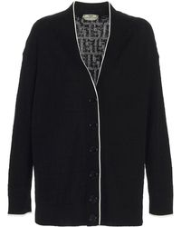 Fendi Ff Monogram Cardigan - Black