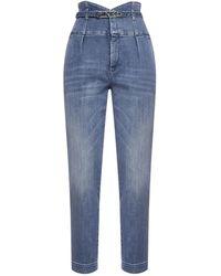 Pinko Ariel Logo-belt High-waist Jeans - Blue