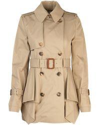 Alexander McQueen Peplum Belted Trench Coat - Natural