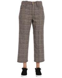 Marc Jacobs Cropped Check Wool Tweed Pants - Grey