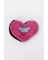 Prada Knitted Heart Brooch - Multicolour