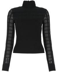 Alexander McQueen Sheer Paneled High-neck Top - Black