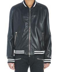 Balmain Leather Bomber Jacket With Logo - Black