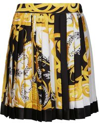 Versace Baroque Print Pleated Skirt - Yellow