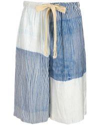 Loewe Drawstring Striped Bermuda Shorts - Blue