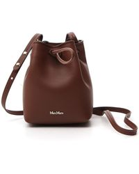Max Mara Logo Small Bucket Bag - Brown