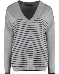 Max Mara Studio Striped V-neck Jumper - Grey