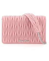 Miu Miu Matelassé Shoulder Bag - Pink
