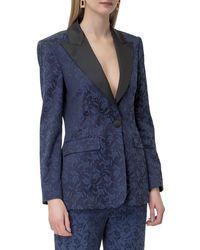 Etro Floral-jacquard Tailored Blazer - Blue