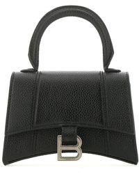 Balenciaga Hourglass Mini Top Handle Shoulder Bag - Black