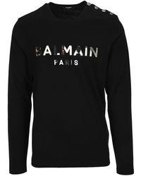 Balmain Logo Long Sleeve T-shirt - Black