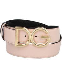 Dolce & Gabbana Logo Plaque Reversible Belt - Pink