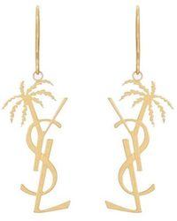 Saint Laurent Monogram Palm Tree Earrings - Metallic