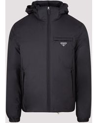 Prada Logo Hooded Puffer Jacket - Black