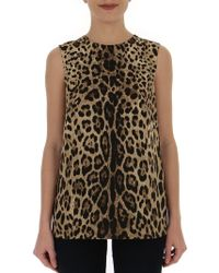 e4a02836 Dolce & Gabbana - Sleeveless Leopard Print Blouse - Lyst