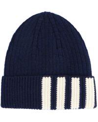 Thom Browne 4-bar Knitted Beanie - Blue