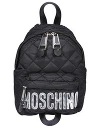Moschino Quilted Logo Backpack - Black