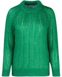 Prada Knitted Crewneck Jumper - Green