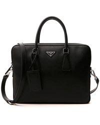 Prada Logo Plaque Briefcase - Black