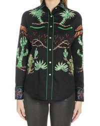 Jessie Western Embroidered Shirt - Green