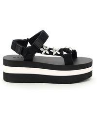 Marni Embellished Strap Platform Sandals - Black