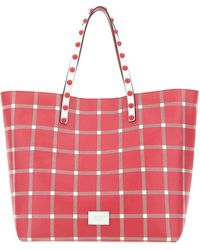RED Valentino Plaid Shopper Bag - Red