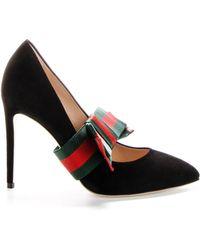 77845582fe9 Gucci Black Pearl Heel 80 Leather Pumps in Black - Lyst
