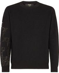 Fendi Ff Motif Knitted Jumper - Black