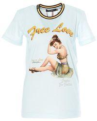 Dolce & Gabbana Free Love Print T-shirt - Blue