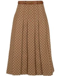 Gucci GG Pleated Skirt - Natural