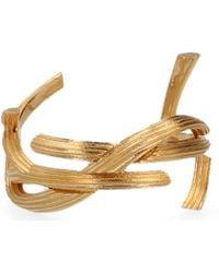 Saint Laurent Gold-tone Monogram Cuff Bracelet - Metallic