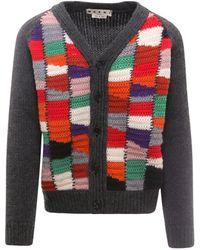 Marni Colour Block V-neck Knit Cardigan - Multicolour