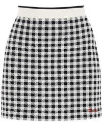 Miu Miu Vichy Wool F12 Mini Skirt 42 Wool - Black