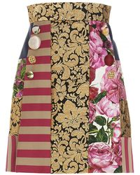 Dolce & Gabbana Dolce E Gabbana Women's F4b3vtgdx65s9000 Gold Cotton Skirt - Metallic