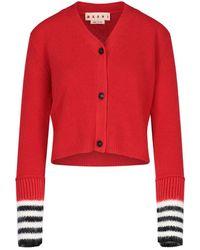 Marni Stripe-detailed V-neck Cardigan - Red
