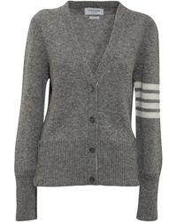 Thom Browne 4-bar Knit Cardigan - Grey
