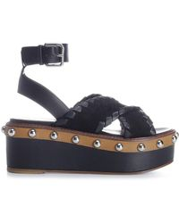 RED Valentino Chunky Sole Sandals - Black
