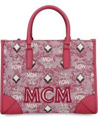 MCM Visetos Jacquard Top Handle Tote Bag - Red