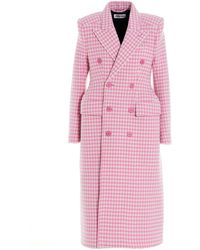 Balenciaga Double-breasted Houndstooth Coat - Pink