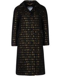 Moschino All Over Logo Coat - Black