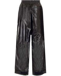 Bottega Veneta Loose Fit Leather Trousers - Brown